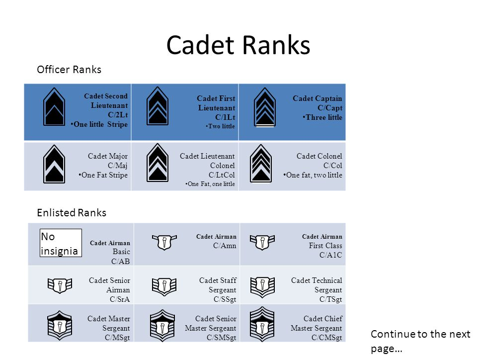 Cadet Ranks Officer Ranks Enlisted Ranks No insignia
