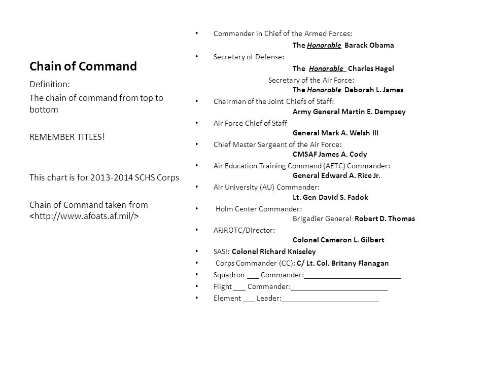 Chain of Command Definition: The chain of command from top to bottom