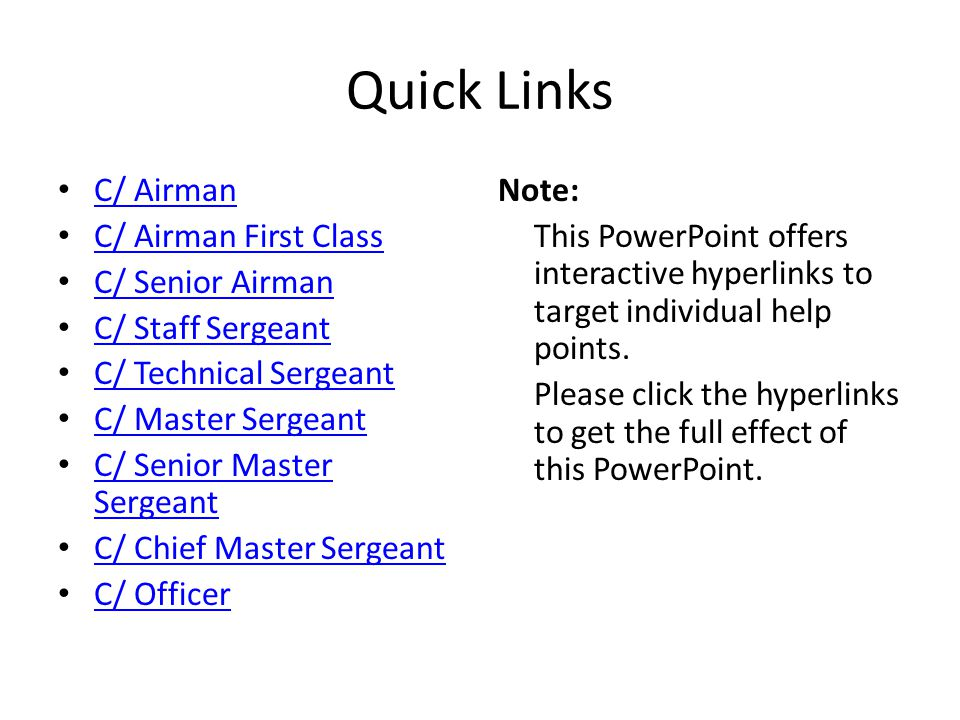 Quick Links C/ Airman C/ Airman First Class C/ Senior Airman