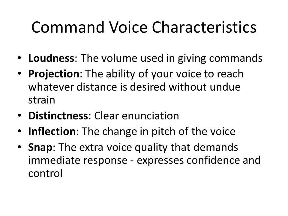 Command Voice Characteristics