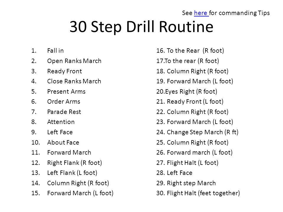 30 Step Drill Routine See here for commanding Tips Fall in