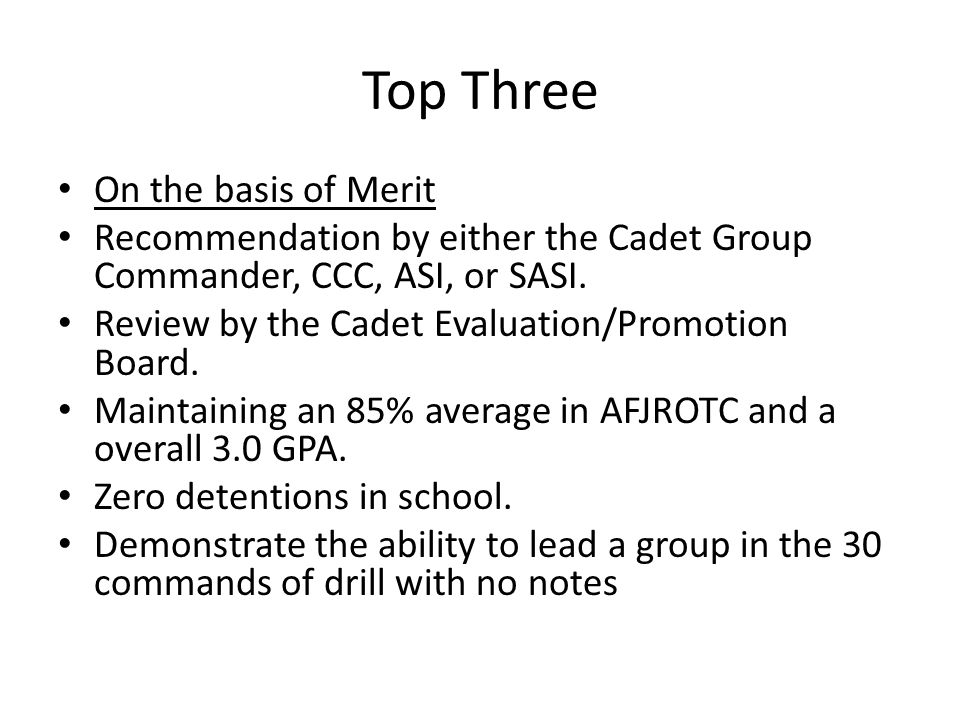 Top Three On the basis of Merit