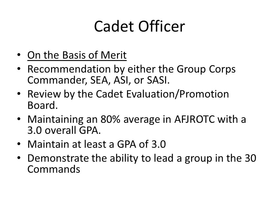 Cadet Officer On the Basis of Merit