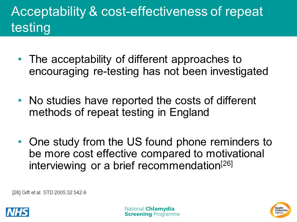 Acceptability & cost-effectiveness of repeat testing