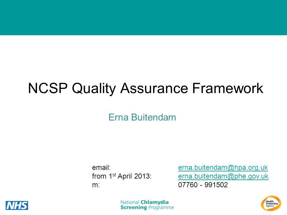 NCSP Quality Assurance Framework