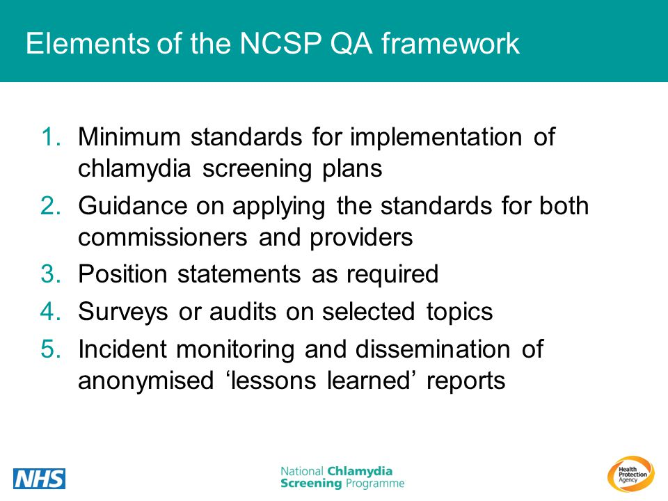 Elements of the NCSP QA framework