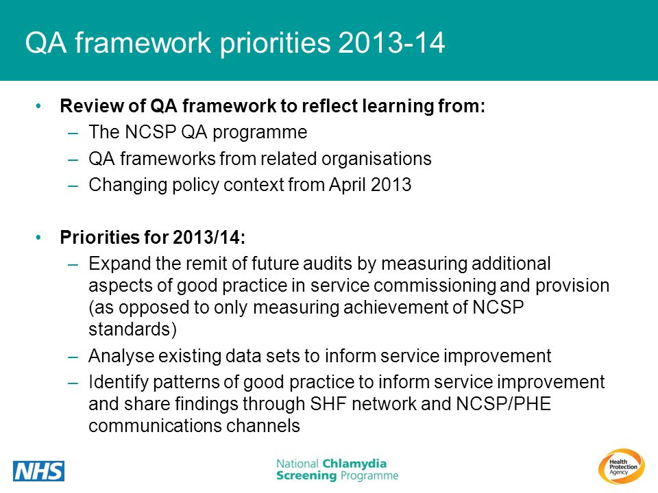 QA framework priorities 2013-14