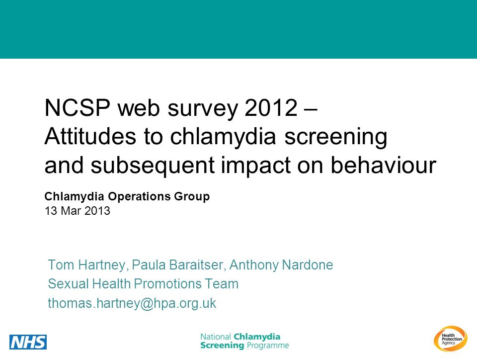NCSP web survey 2012 – Attitudes to chlamydia screening and subsequent impact on behaviour
