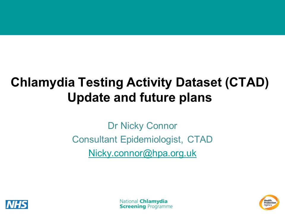 Chlamydia Testing Activity Dataset (CTAD) Update and future plans