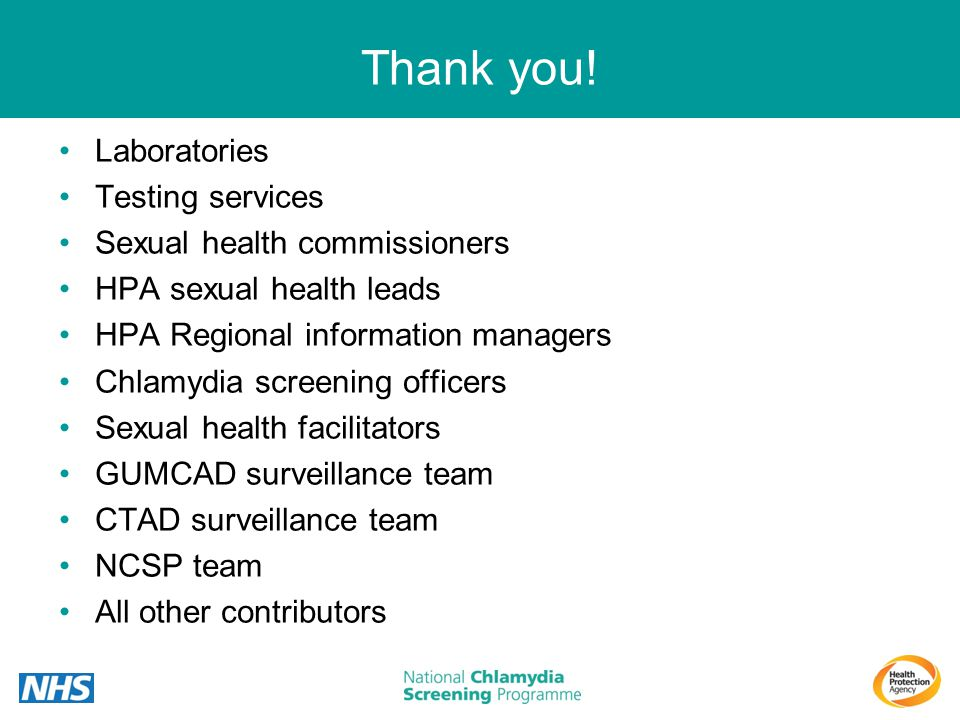Thank you! Laboratories Testing services Sexual health commissioners