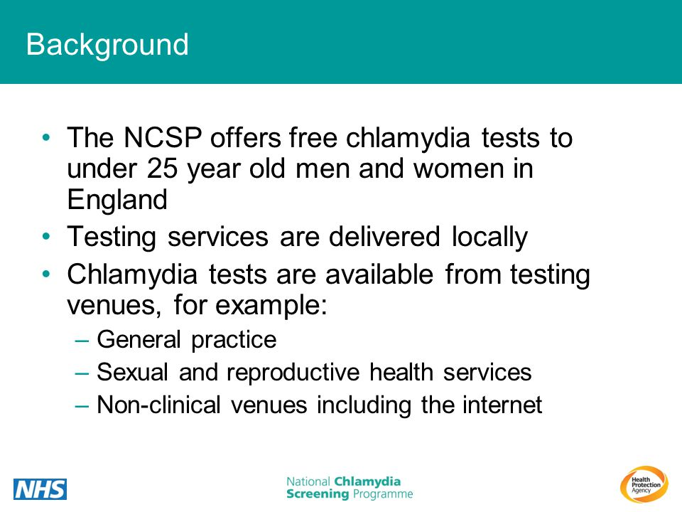 Background The NCSP offers free chlamydia tests to under 25 year old men and women in England. Testing services are delivered locally.