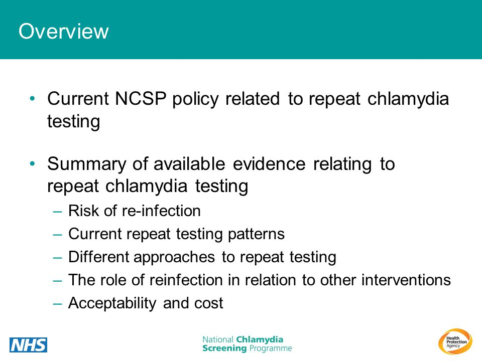 Overview Current NCSP policy related to repeat chlamydia testing