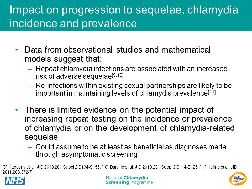 Impact on progression to sequelae, chlamydia incidence and prevalence