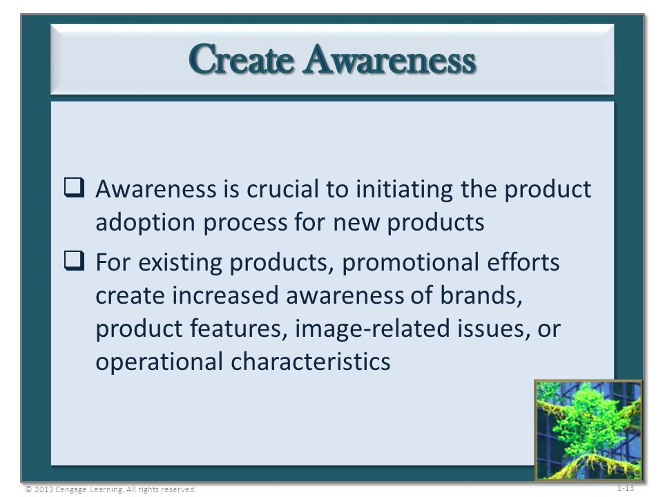Create Awareness Awareness is crucial to initiating the product adoption process for new products.