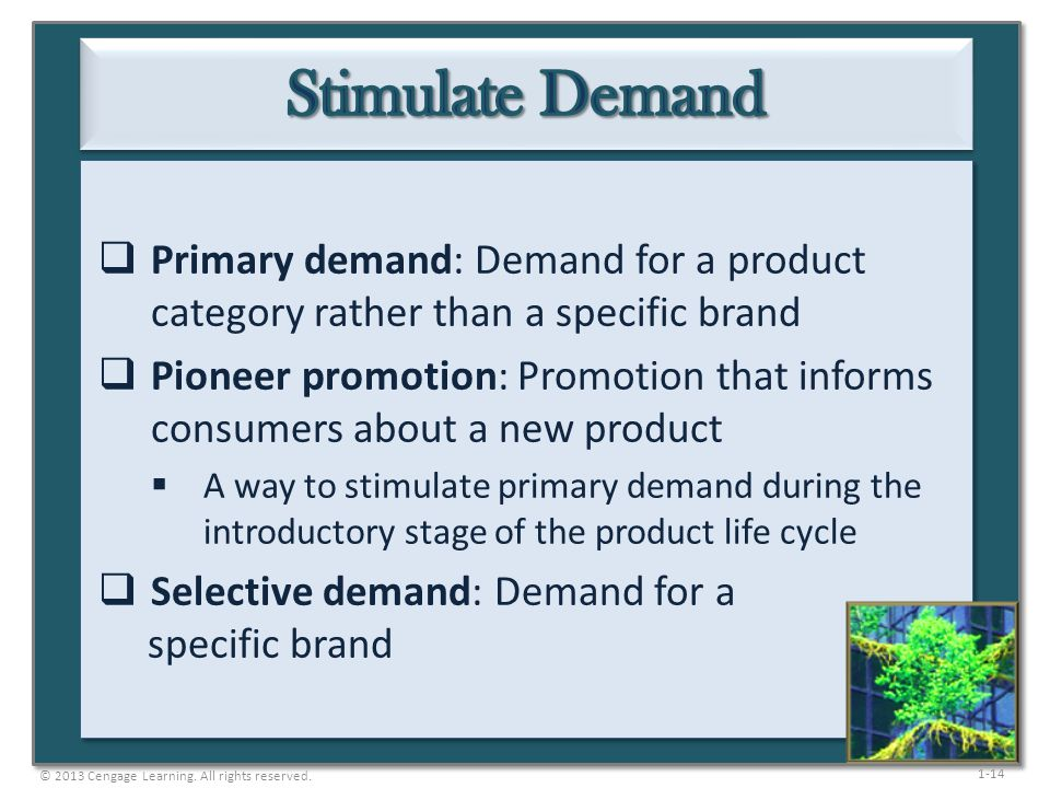 Stimulate Demand Primary demand: Demand for a product category rather than a specific brand.