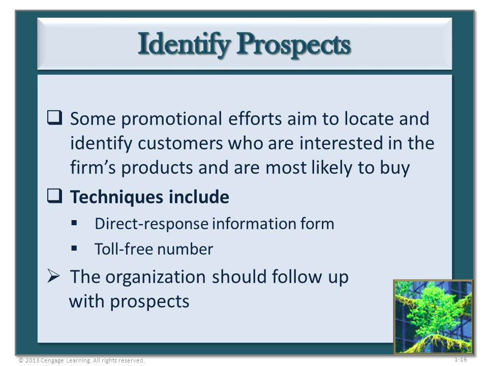 Identify Prospects Some promotional efforts aim to locate and identify customers who are interested in the firm's products and are most likely to buy.