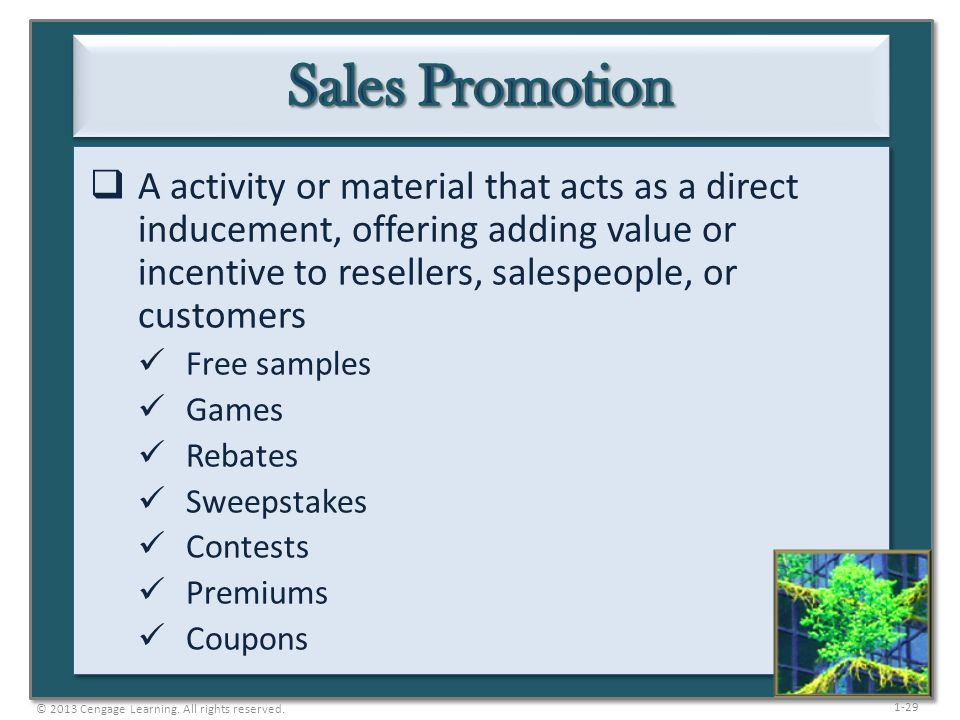 Sales Promotion A activity or material that acts as a direct inducement, offering adding value or incentive to resellers, salespeople, or customers.