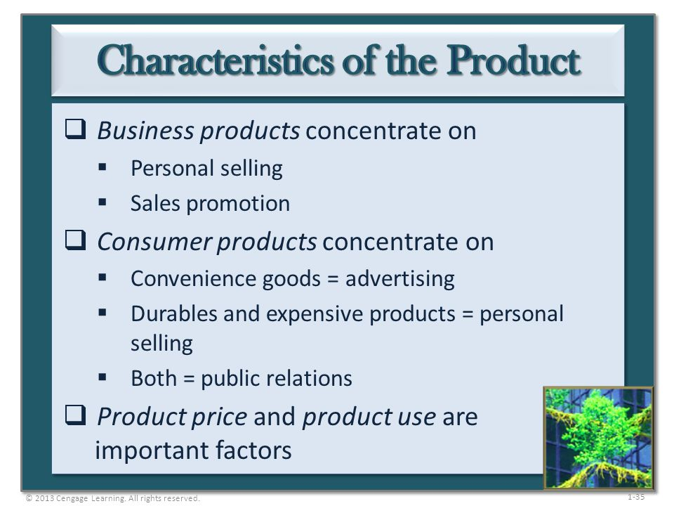Characteristics of the Product
