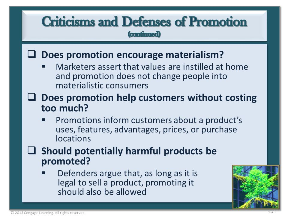 Criticisms and Defenses of Promotion (continued)