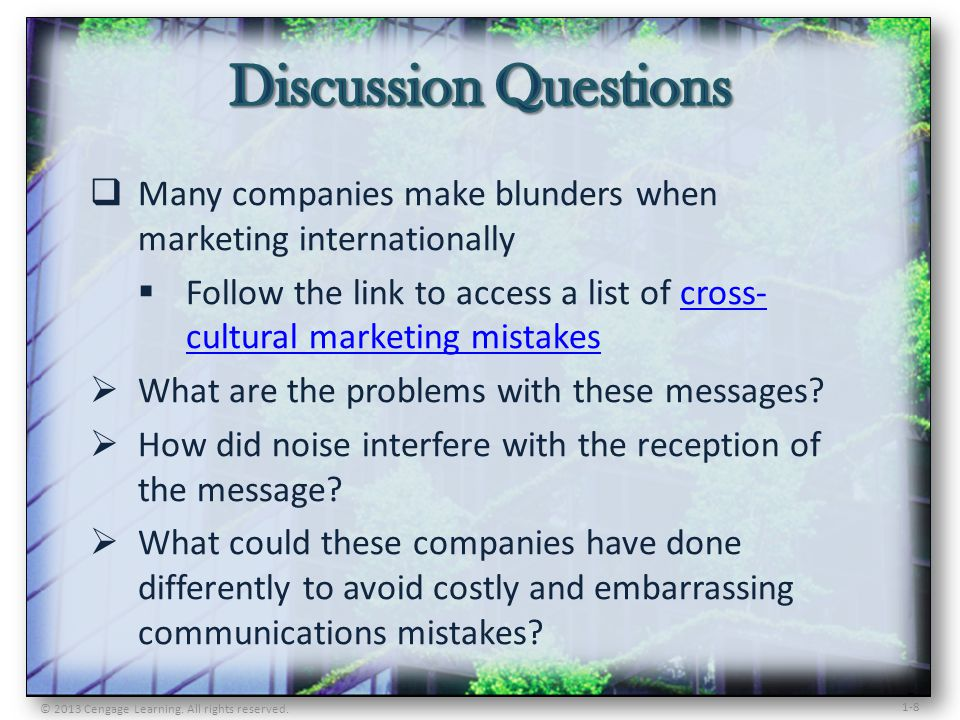 Discussion Questions Many companies make blunders when marketing internationally.
