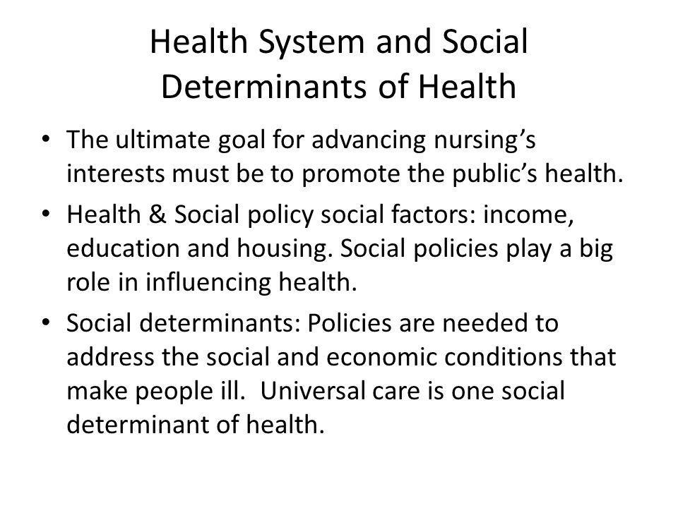 Health System and Social Determinants of Health