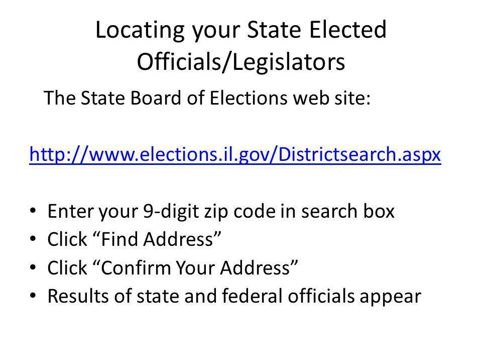 Locating your State Elected Officials/Legislators