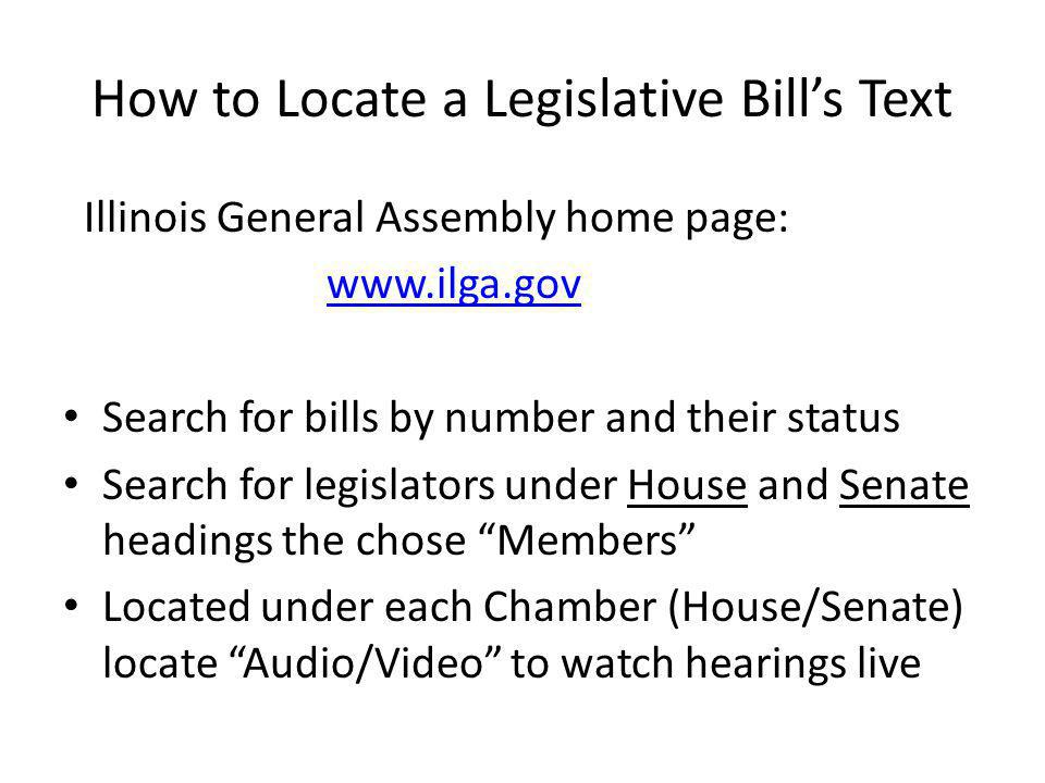How to Locate a Legislative Bill's Text