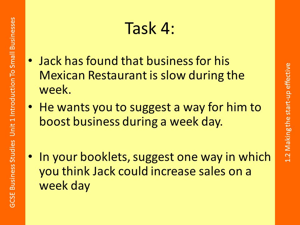 Task 4: Jack has found that business for his Mexican Restaurant is slow during the week.