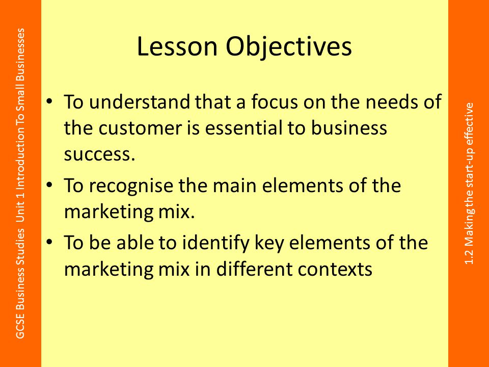 Lesson Objectives To understand that a focus on the needs of the customer is essential to business success.