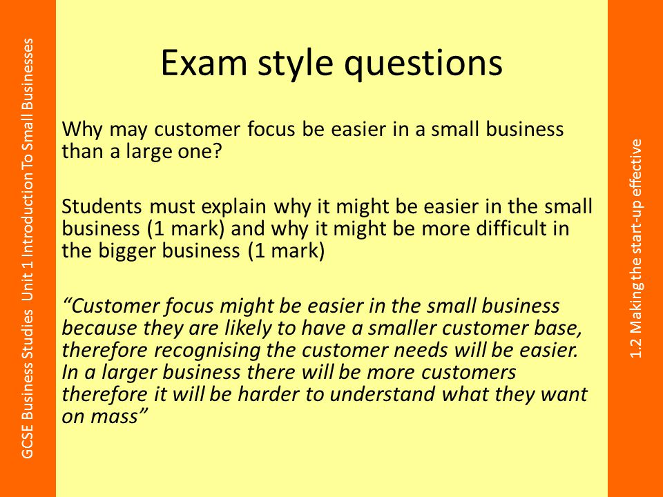 Exam style questions Why may customer focus be easier in a small business than a large one