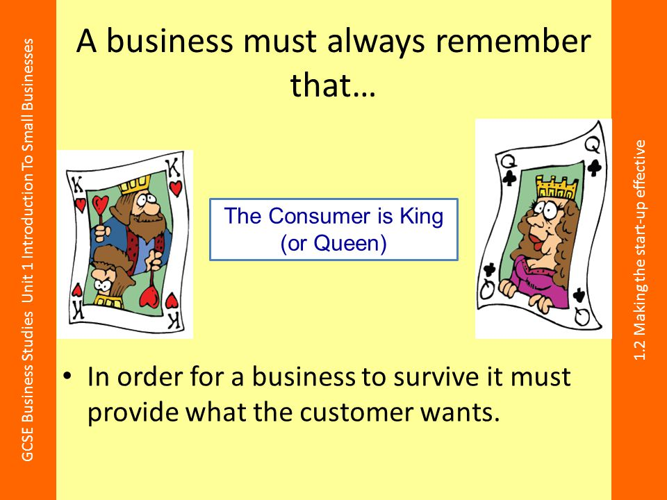 A business must always remember that…