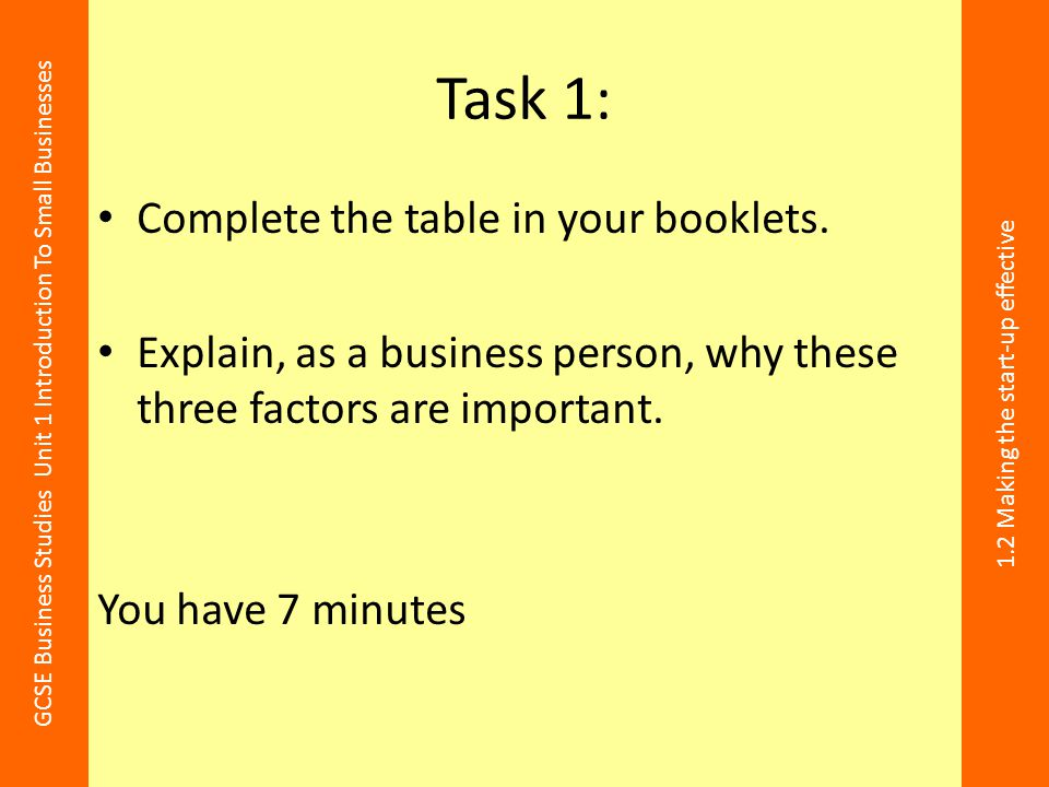 Task 1: Complete the table in your booklets.