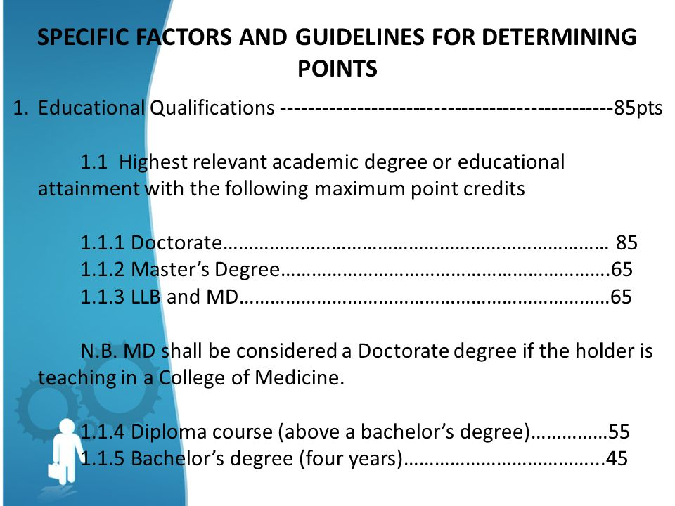 SPECIFIC FACTORS AND GUIDELINES FOR DETERMINING POINTS