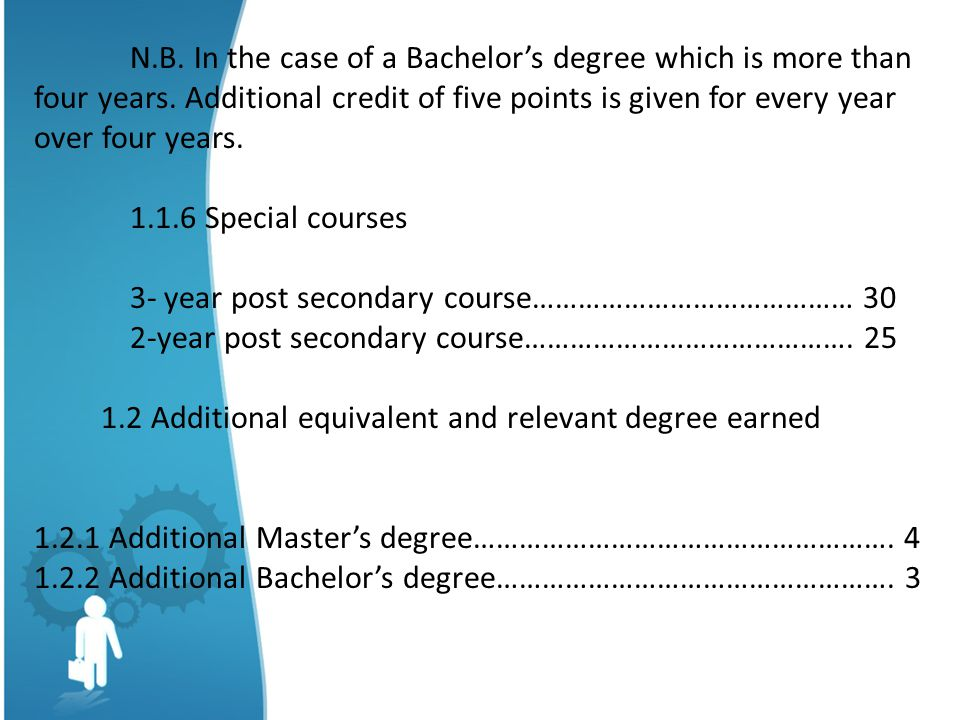 N. B. In the case of a Bachelor's degree which is more than four years
