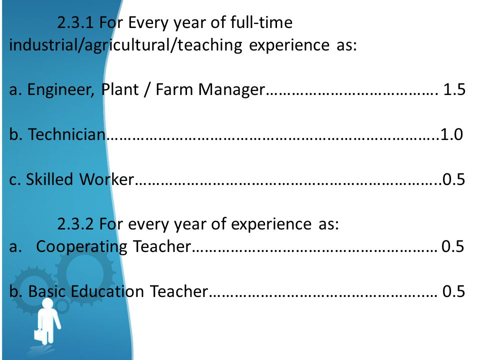 2.3.1 For Every year of full-time industrial/agricultural/teaching experience as: