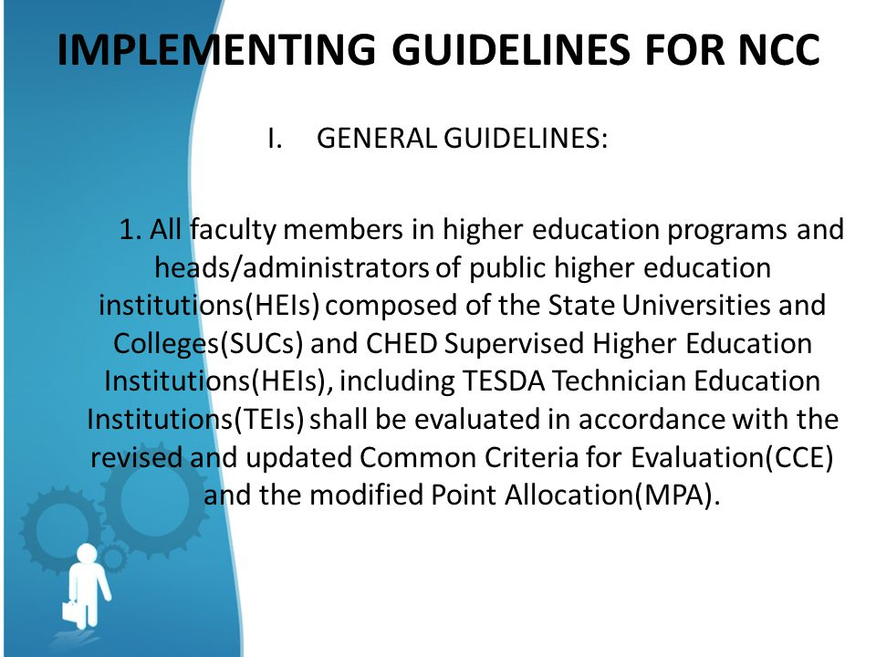 IMPLEMENTING GUIDELINES FOR NCC