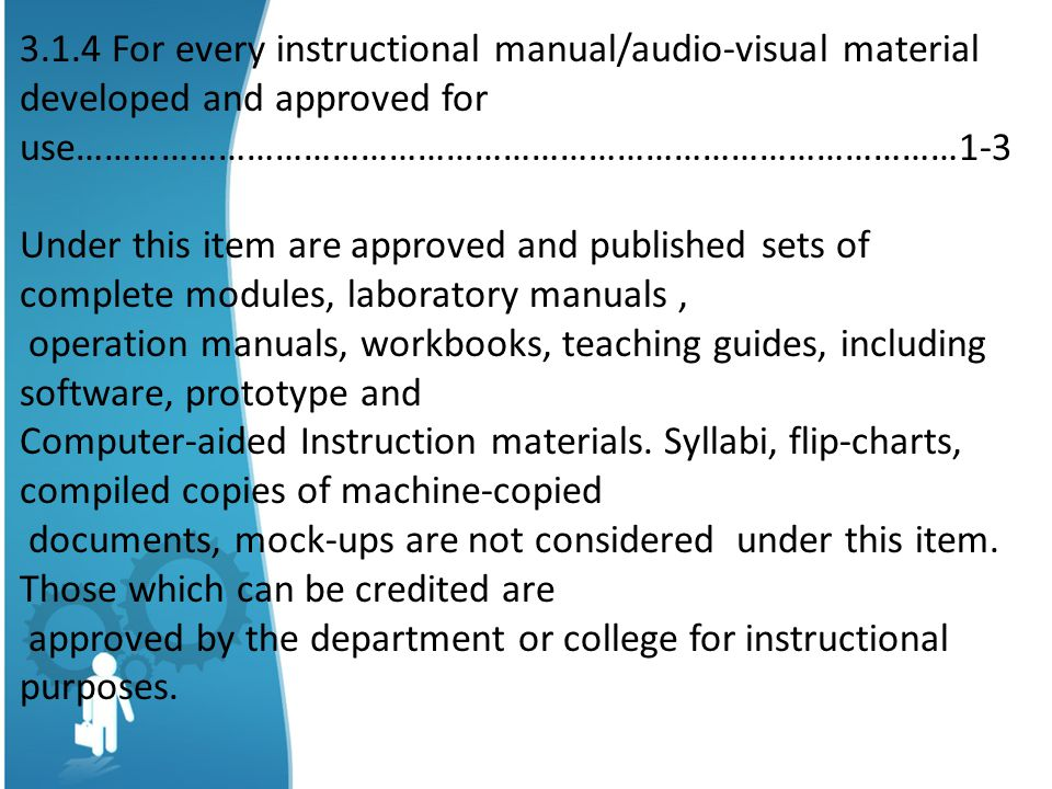 3.1.4 For every instructional manual/audio-visual material developed and approved for use…………………………………………………………………………………1-3