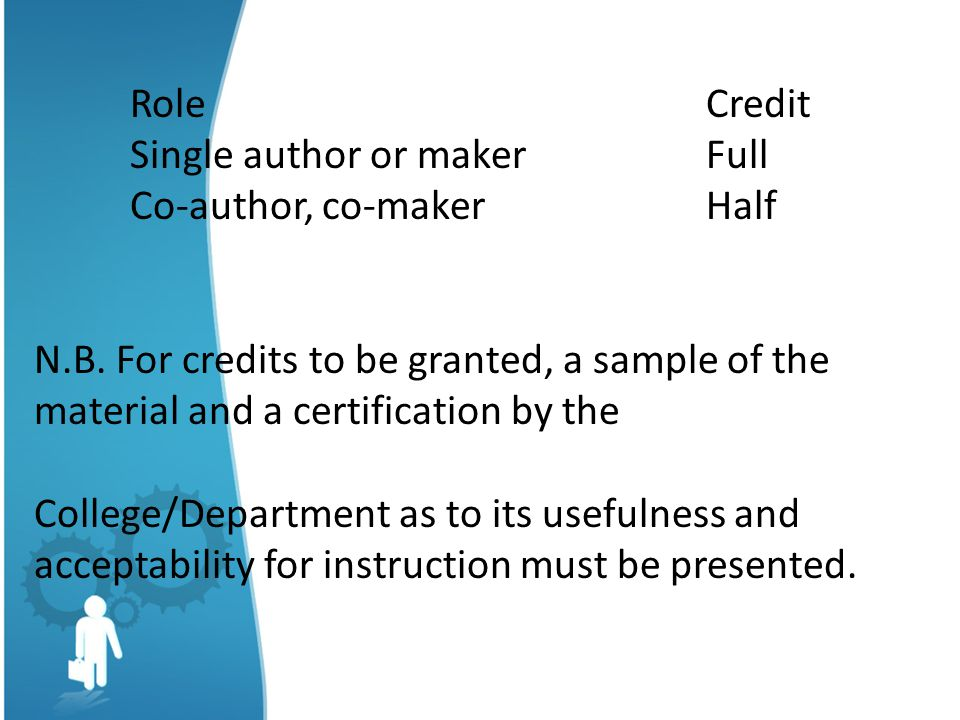 Role Credit Single author or maker Full. Co-author, co-maker Half.