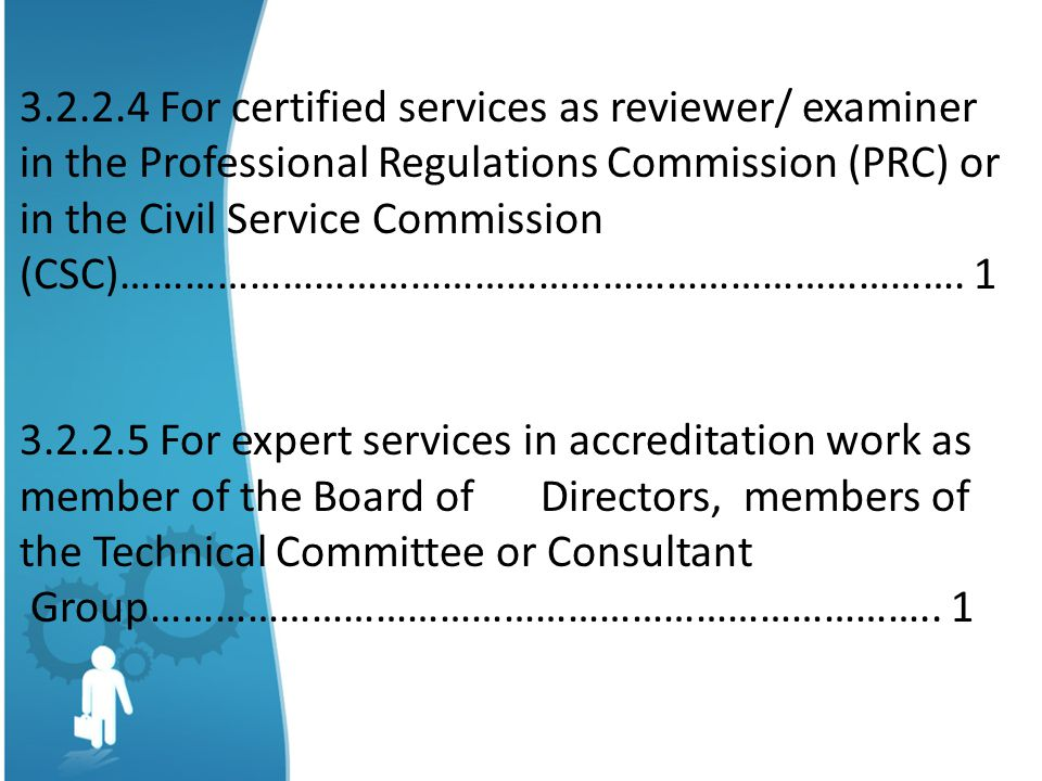 3.2.2.4 For certified services as reviewer/ examiner in the Professional Regulations Commission (PRC) or in the Civil Service Commission (CSC)……………………………………………………………………. 1