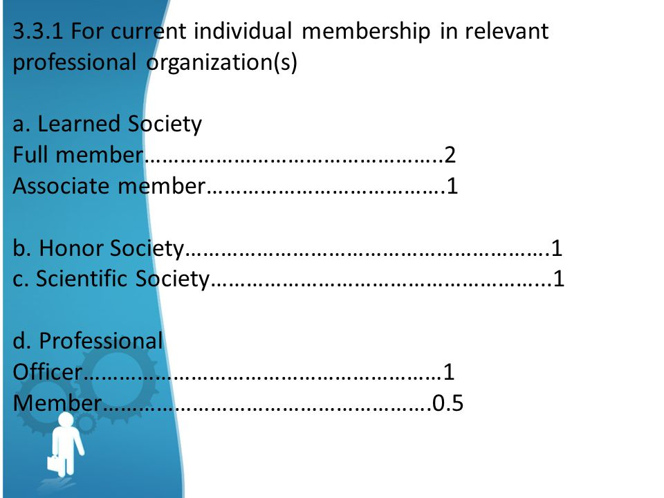 3.3.1 For current individual membership in relevant professional organization(s)
