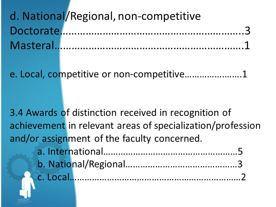 d. National/Regional, non-competitive