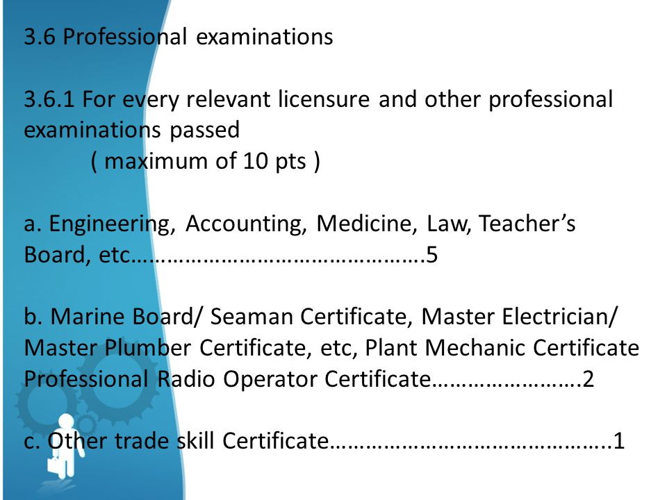 3.6 Professional examinations