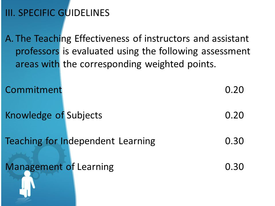 III. SPECIFIC GUIDELINES