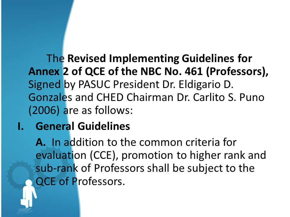 The Revised Implementing Guidelines for Annex 2 of QCE of the NBC No