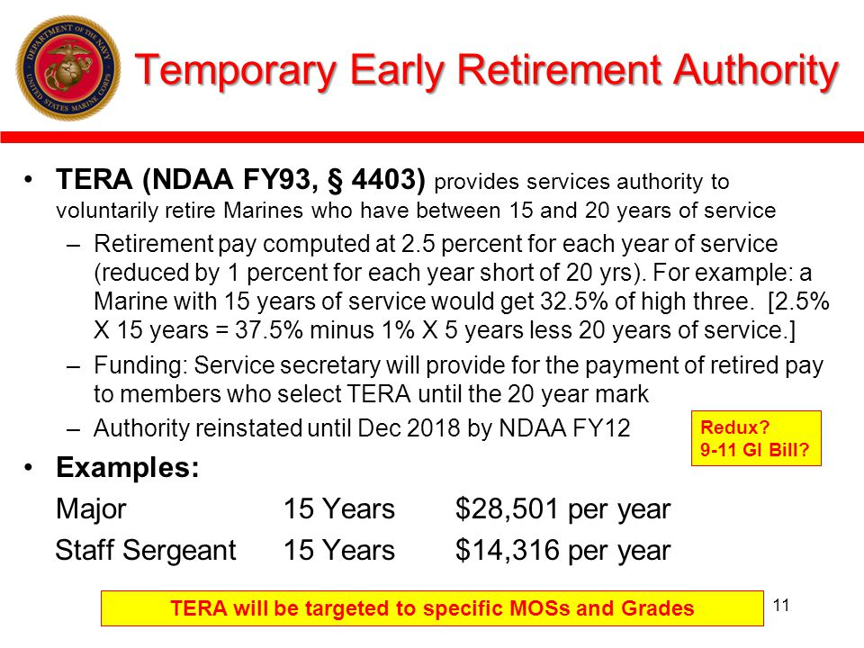 Temporary Early Retirement Authority