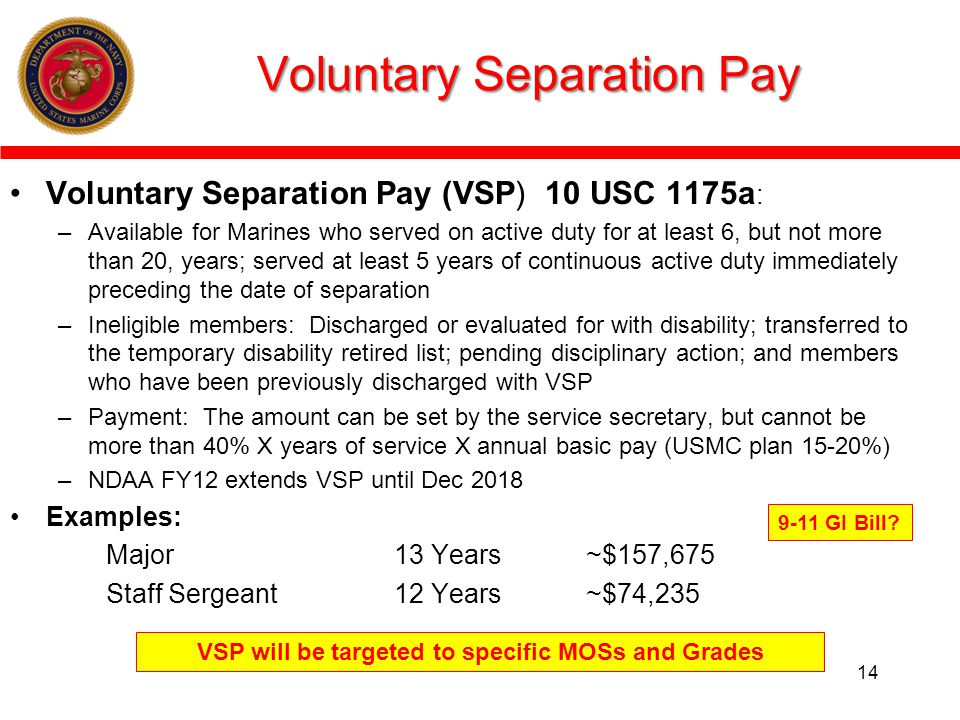 VSP will be targeted to specific MOSs and Grades