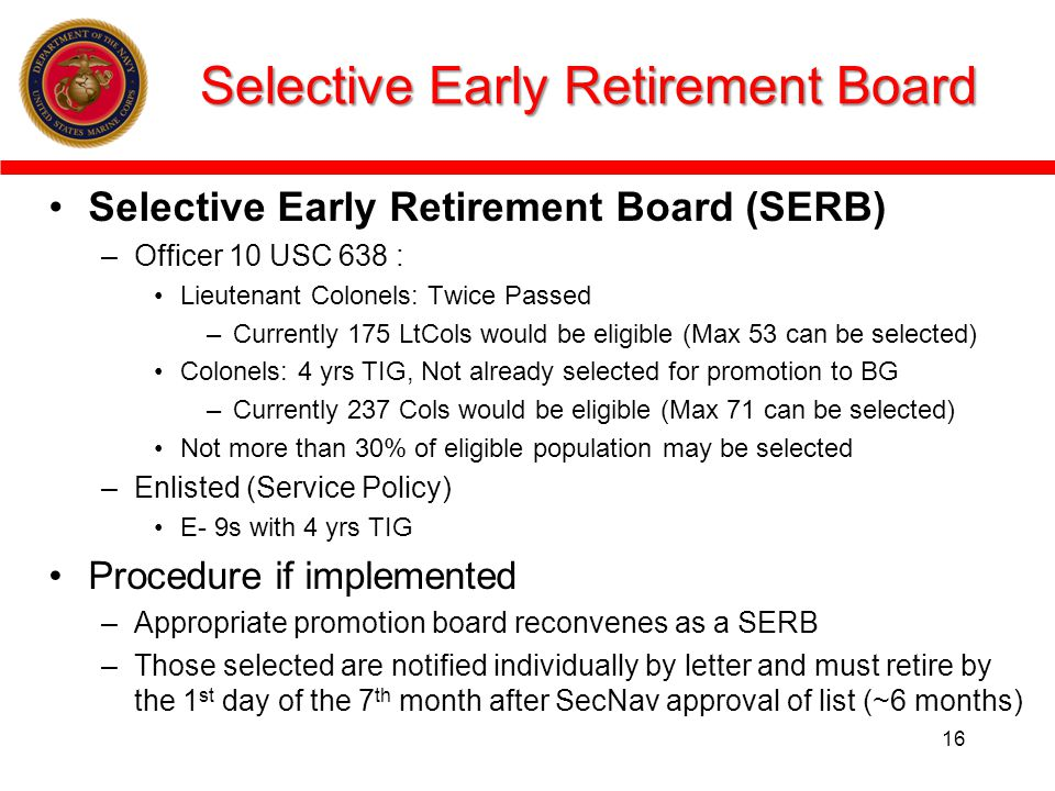 Selective Early Retirement Board