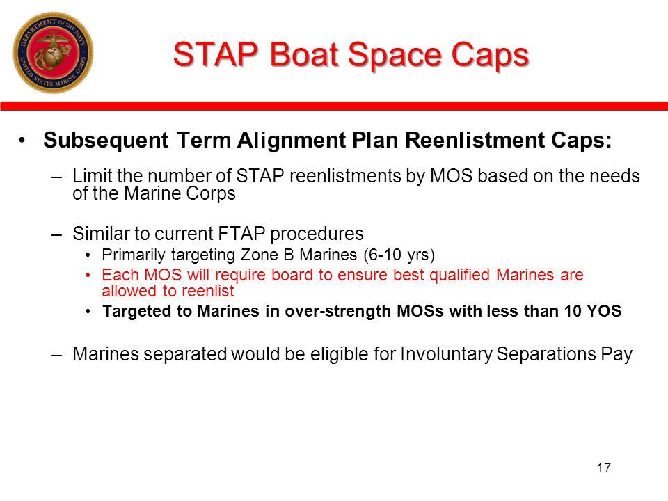 STAP Boat Space Caps Subsequent Term Alignment Plan Reenlistment Caps:
