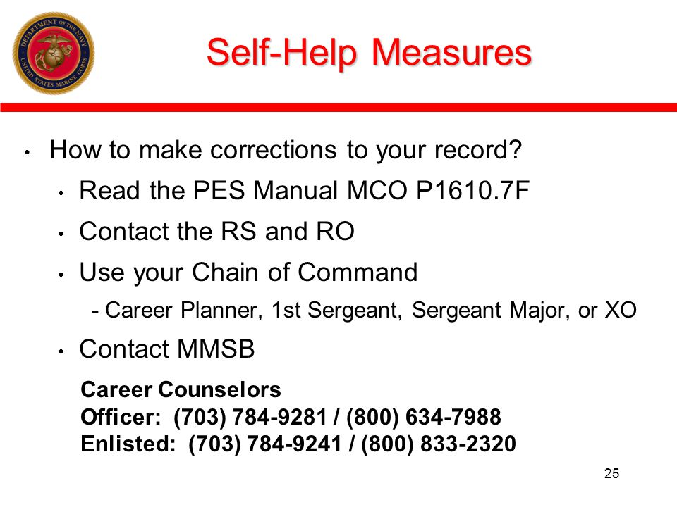 Self-Help Measures How to make corrections to your record