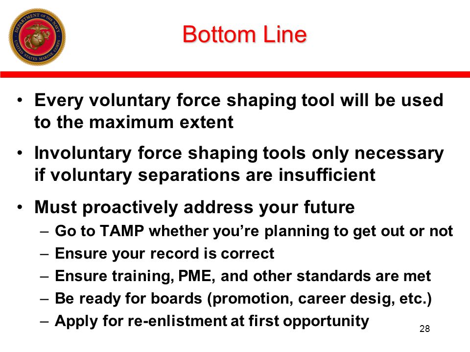 Bottom Line Every voluntary force shaping tool will be used to the maximum extent.